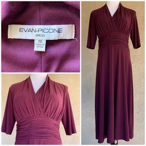 """Evan Picone"" Purple Stretch Jersey Dress size 10"